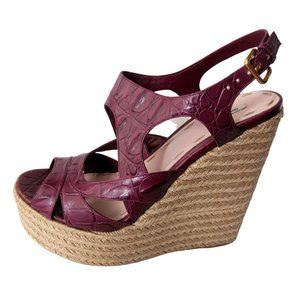 Miu Miu Purple Leather Platform Espadrilles 10